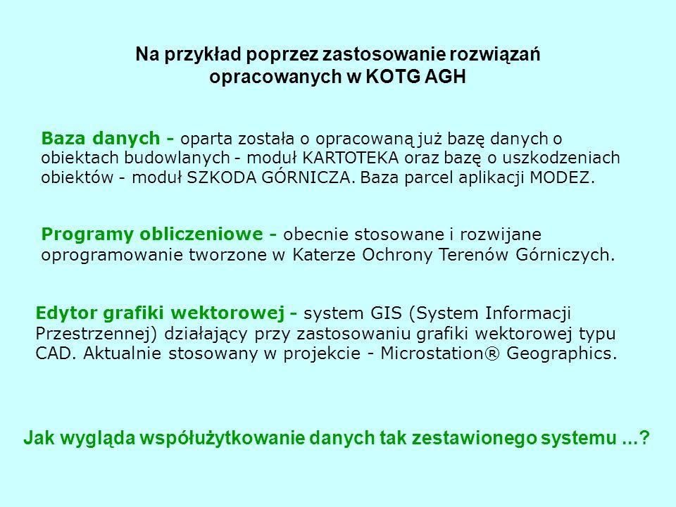 Na przykład poprzez zastosowanie rozwiązań opracowanych w KOTG AGH Baza danych - oparta została o opracowaną już bazę danych o obiektach budowlanych - moduł KARTOTEKA oraz bazę o uszkodzeniach obiektów - moduł SZKODA GÓRNICZA.