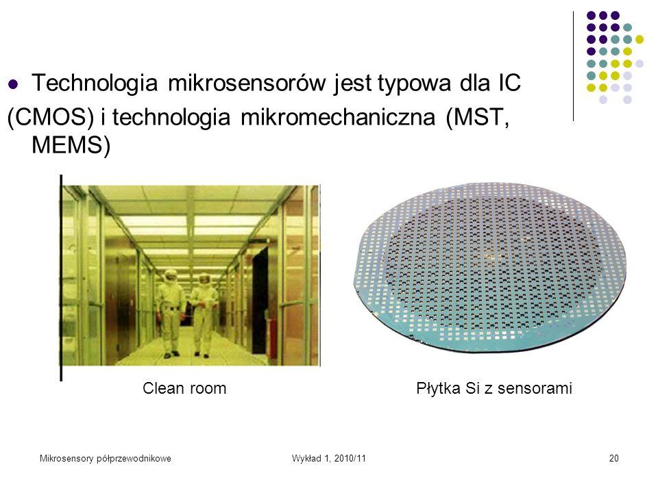 Mikrosensory półprzewodnikoweWykład 1, 2010/1120 Technologia mikrosensorów jest typowa dla IC (CMOS) i technologia mikromechaniczna (MST, MEMS) Clean