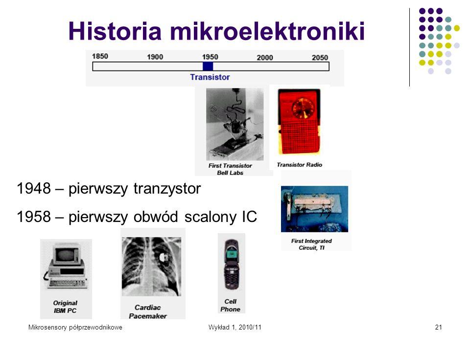 Mikrosensory półprzewodnikoweWykład 1, 2010/1121 Historia mikroelektroniki 1948 – pierwszy tranzystor 1958 – pierwszy obwód scalony IC