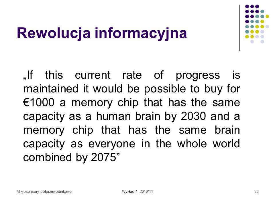 Mikrosensory półprzewodnikoweWykład 1, 2010/1123 Rewolucja informacyjna If this current rate of progress is maintained it would be possible to buy for