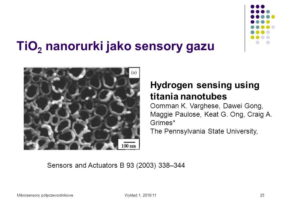 Mikrosensory półprzewodnikoweWykład 1, 2010/1125 TiO 2 nanorurki jako sensory gazu Hydrogen sensing using titania nanotubes Oomman K. Varghese, Dawei