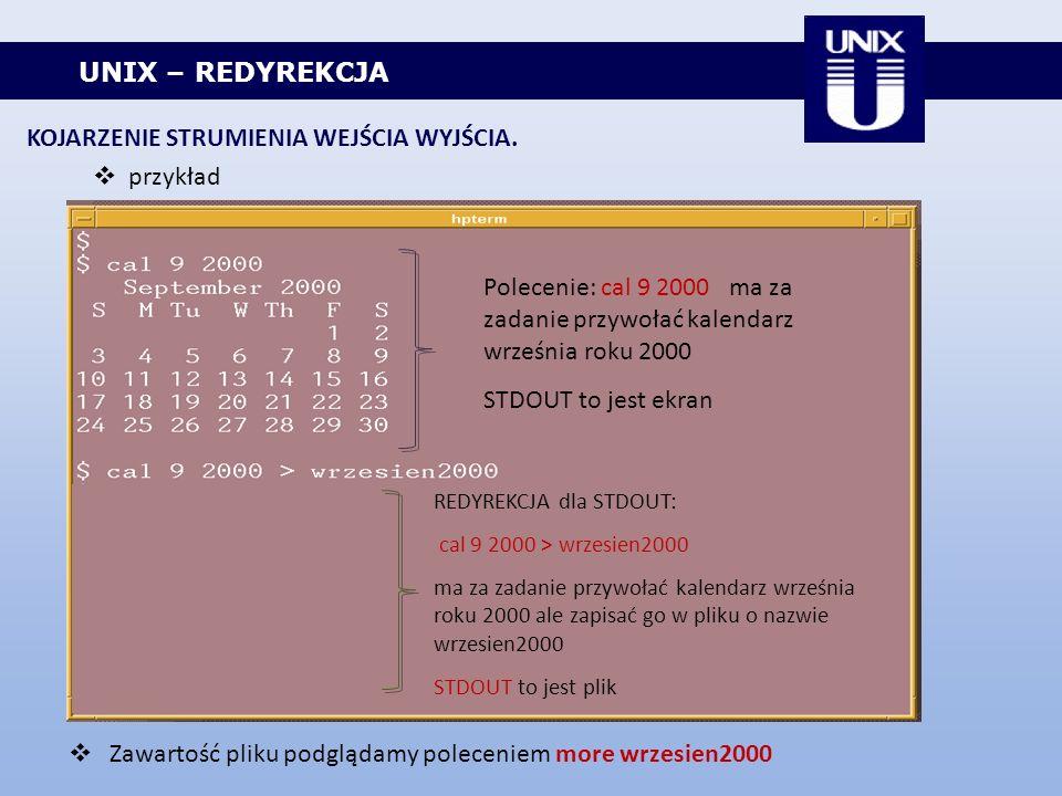 UNIX – REDYREKCJA KOJARZENIE STRUMIENIA WEJŚCIA WYJŚCIA. przykład Polecenie: cal 9 2000 ma za zadanie przywołać kalendarz września roku 2000 STDOUT to