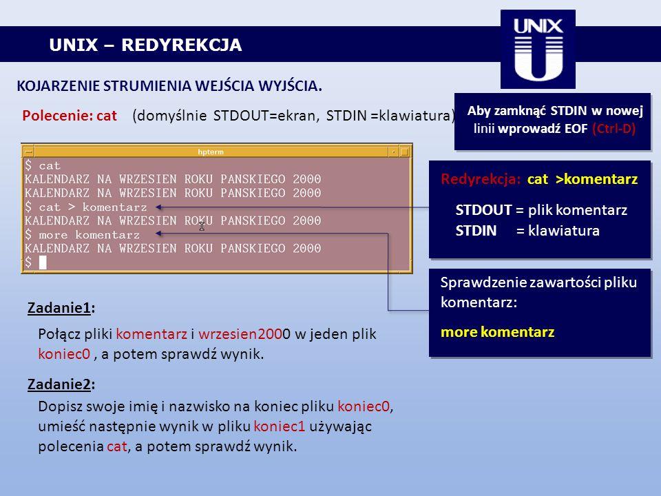 UNIX – REDYREKCJA KOJARZENIE STRUMIENIA WEJŚCIA WYJŚCIA. Polecenie: cat (domyślnie STDOUT=ekran, STDIN =klawiatura) Aby zamknąć STDIN w nowej linii wp