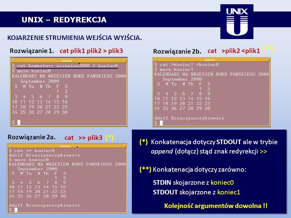 UNIX – REDYREKCJA KOJARZENIE STRUMIENIA WEJŚCIA WYJŚCIA. Rozwiązanie 1.cat plik1 plik2 > plik3 Rozwiązanie 2a. Rozwiązanie 2b. cat >plik2 <plik1 cat >