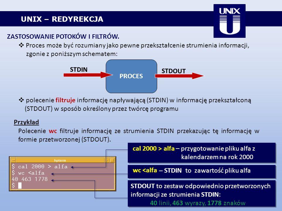 UNIX – REDYREKCJA ZASTOSOWANIE POTOKÓW I FILTRÓW. Proces może być rozumiany jako pewne przekształcenie strumienia informacji, zgonie z poniższym schem