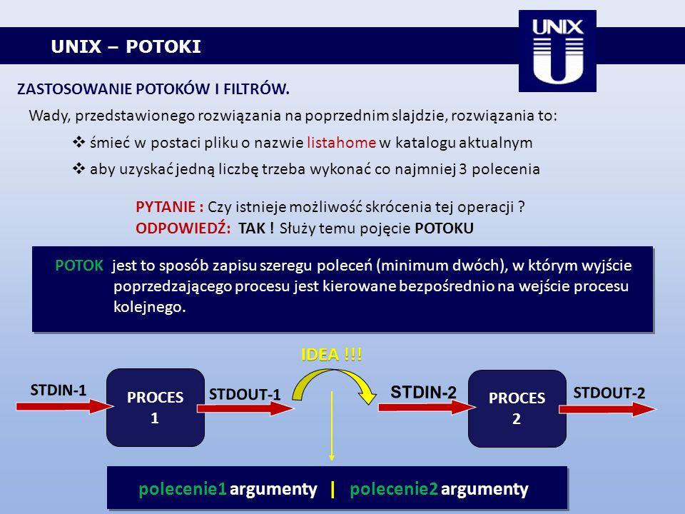 UNIX – POTOKI Wady, przedstawionego rozwiązania na poprzednim slajdzie, rozwiązania to: śmieć w postaci pliku o nazwie listahome w katalogu aktualnym
