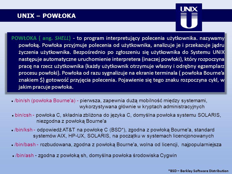 UNIX – POWŁOKA POWŁOKA ( ang. SHELL) - to program interpretujący polecenia użytkownika. nazywamy powłoką. Powłoka przyjmuje polecenia od użytkownika,