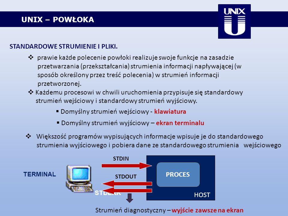 UNIX – POWŁOKA STANDARDOWE STRUMIENIE I PLIKI. prawie każde polecenie powłoki realizuje swoje funkcje na zasadzie przetwarzania (przekształcania) stru