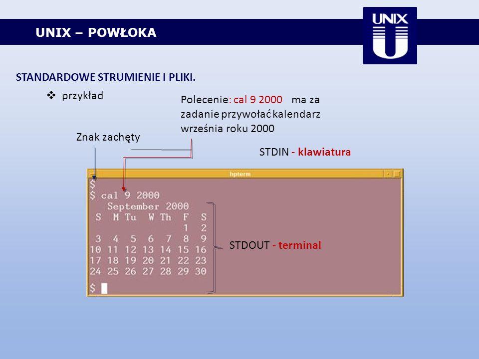 UNIX – POWŁOKA STANDARDOWE STRUMIENIE I PLIKI. przykład Znak zachęty Polecenie: cal 9 2000 ma za zadanie przywołać kalendarz września roku 2000 STDIN