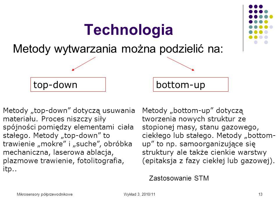 Mikrosensory półprzewodnikoweWykład 3, 2010/1113 Technologia Metody wytwarzania można podzielić na: Metody top-down dotyczą usuwania materiału. Proces