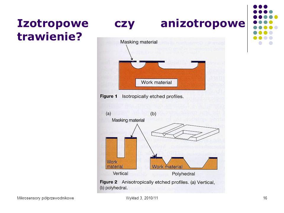 Mikrosensory półprzewodnikoweWykład 3, 2010/1116 Izotropowe czy anizotropowe trawienie?