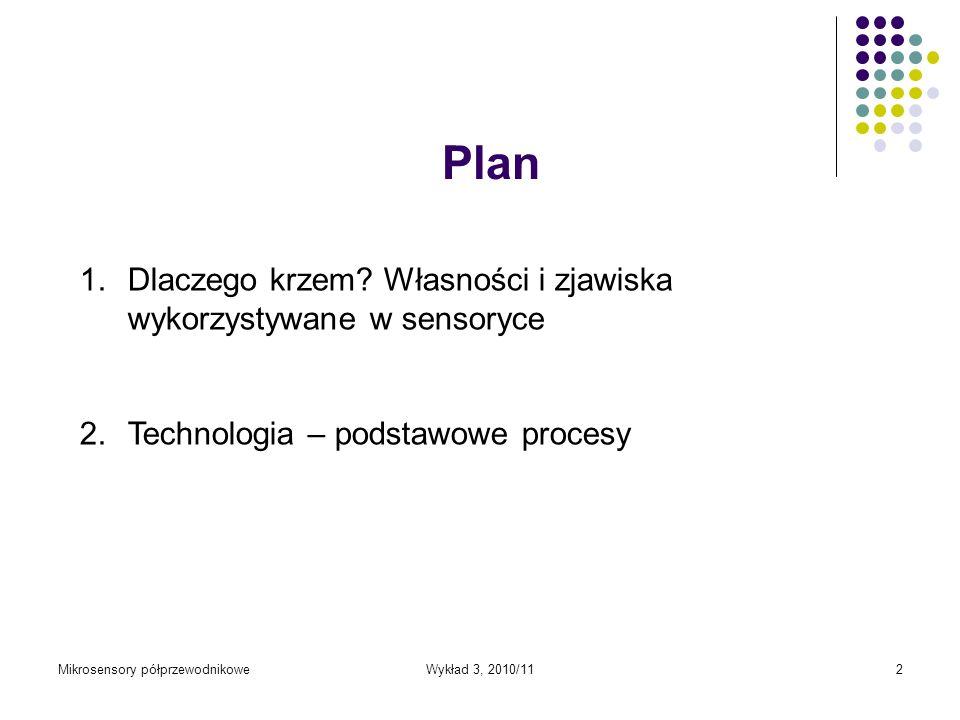 Wykład 3, 2010/112 Plan 1.Dlaczego krzem? Własności i zjawiska wykorzystywane w sensoryce 2.Technologia – podstawowe procesy