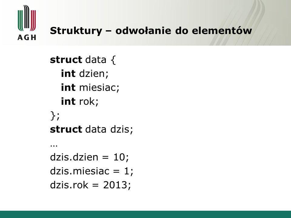 Struktury – odwołanie do elementów struct data { int dzien; int miesiac; int rok; }; struct data dzis; … dzis.dzien = 10; dzis.miesiac = 1; dzis.rok =