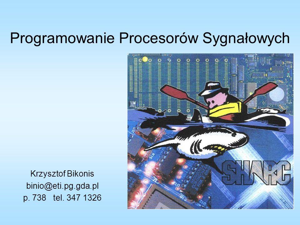 Symulator procesorów stałoprzecinkowych z rodziny 21xx.MODULE vector_add;.CONST n=10;.VAR/DM/RAM x_input[n];.VAR/PM/RAM/ABS=100 y_input[n];.INIT x_input: ;.INIT y_input: ;.PORT z_out; JUMP start; NOP; NOP; NOP; RTI; NOP; NOP; NOP; start: I2=^x_input; L2=0; I6=^y_input; L6=0; M0=1; L0=0; M5=1; L5=0; CNTR=n-1; AX0=DM(I2,M0), AY0=PM(I6,M5); DO add_loop UNTIL CE; AR=AX0+AY0, AX0=DM(I2,M0), AY0=PM(I6,M5); add_loop: DM(z_out)=AR; AR=AX0+AY0; DM(z_out)=AR; IDLE;.ENDMOD; Inicjalizacja rejestrów modyfikacji