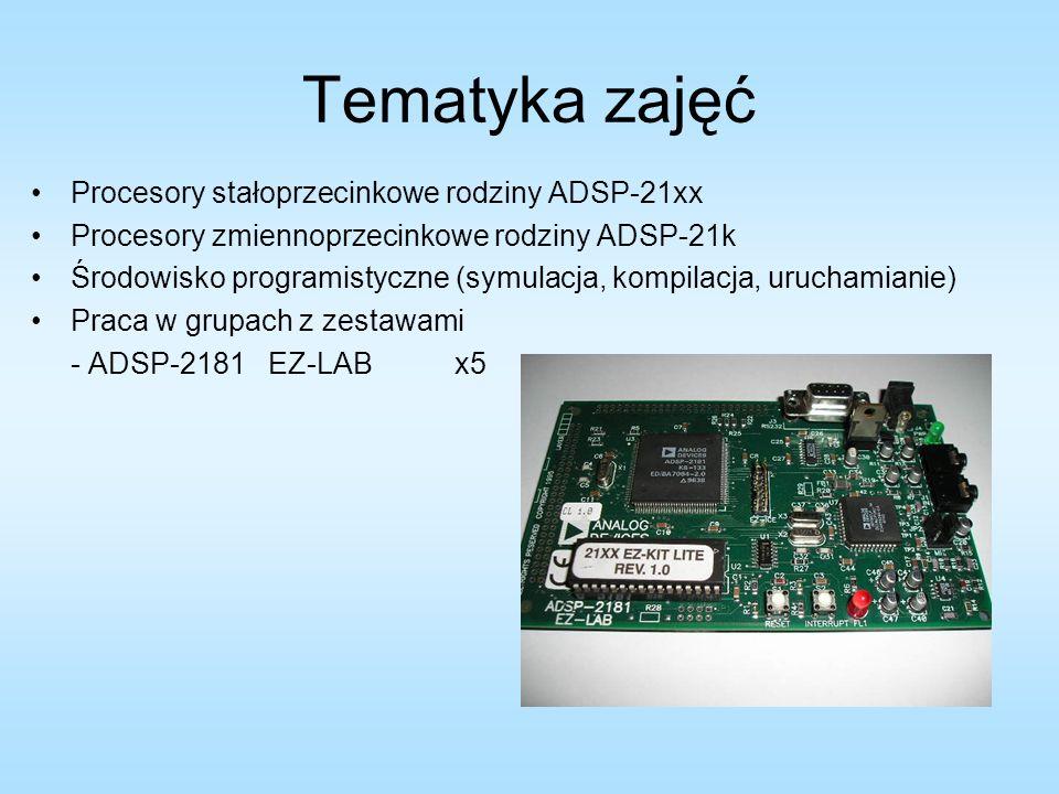Tematyka zajęć Procesory stałoprzecinkowe rodziny ADSP-21xx Procesory zmiennoprzecinkowe rodziny ADSP-21k Środowisko programistyczne (symulacja, kompi