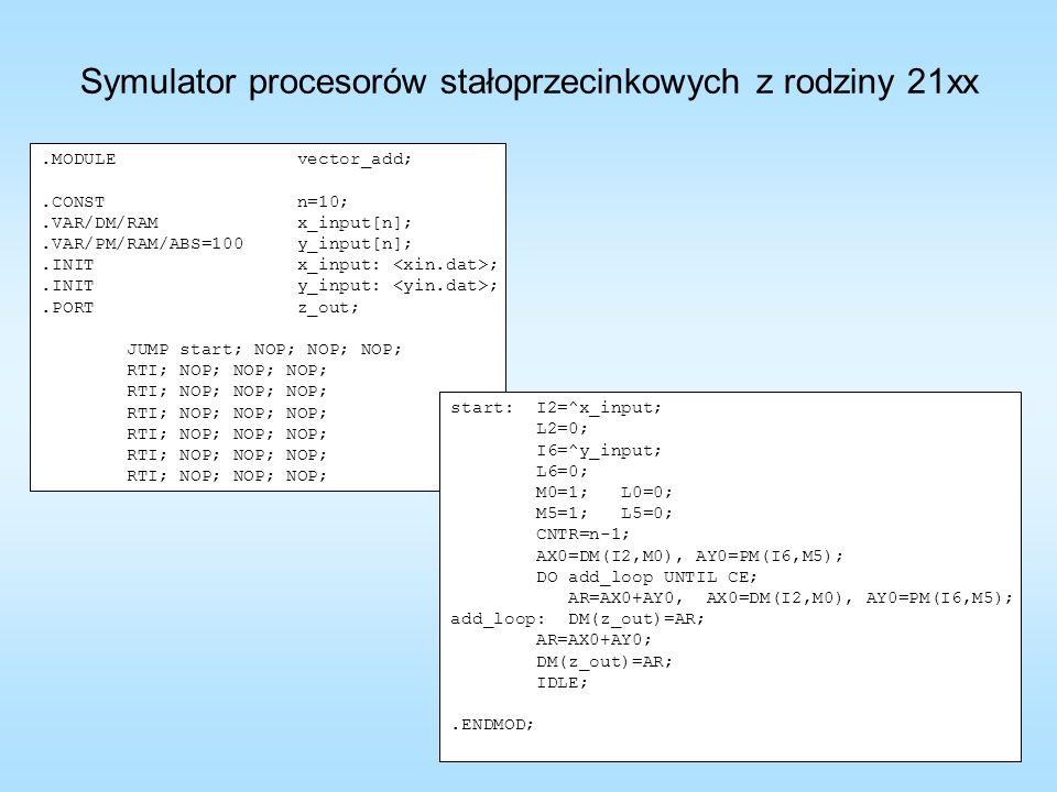.MODULE vector_add;.CONST n=10;.VAR/DM/RAM x_input[n];.VAR/PM/RAM/ABS=100 y_input[n];.INIT x_input: ;.INIT y_input: ;.PORT z_out; JUMP start; NOP; NOP