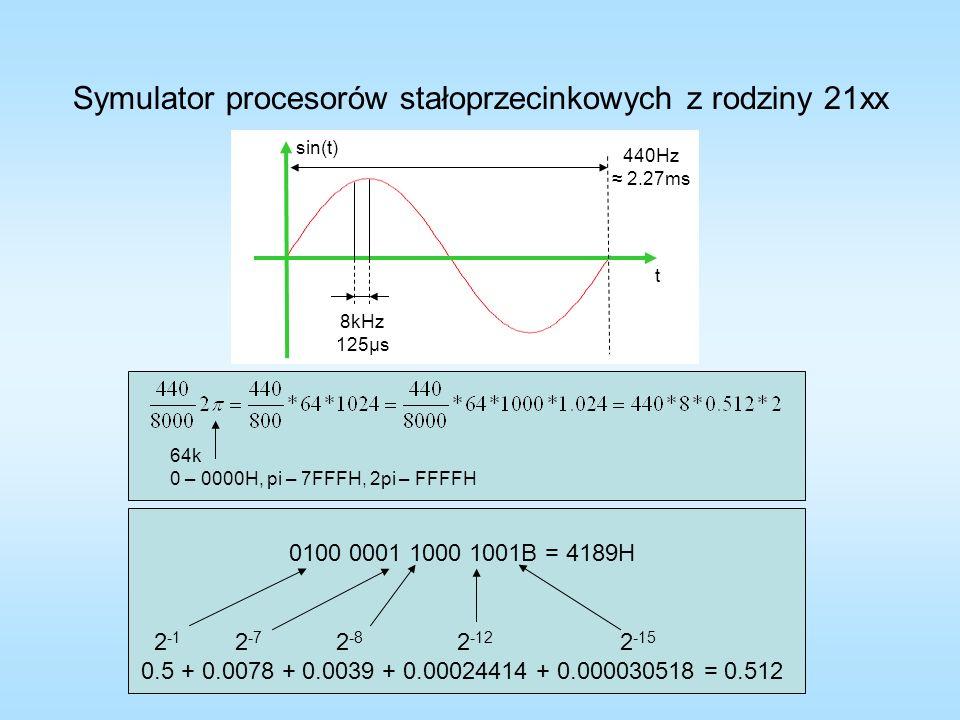 Symulator procesorów stałoprzecinkowych z rodziny 21xx t sin(t) 440Hz 2.27ms 8kHz 125μs 0100 0001 1000 1001B = 4189H 2 -1 2 -7 2 -8 2 -12 2 -15 0.5 +