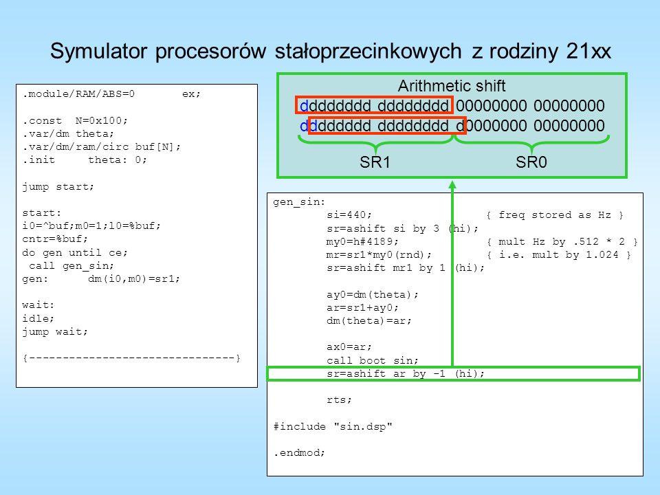 gen_sin: si=440; { freq stored as Hz } sr=ashift si by 3 (hi); my0=h#4189; { mult Hz by.512 * 2 } mr=sr1*my0(rnd); { i.e. mult by 1.024 } sr=ashift mr