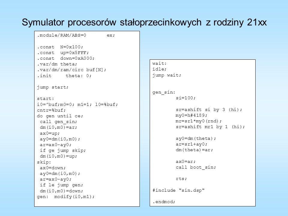 .module/RAM/ABS=0 ex;.const N=0x100;.const up=0x5FFF;.const down=0xA000;.var/dm theta;.var/dm/ram/circ buf[N];.inittheta: 0; jump start; start: i0=^bu