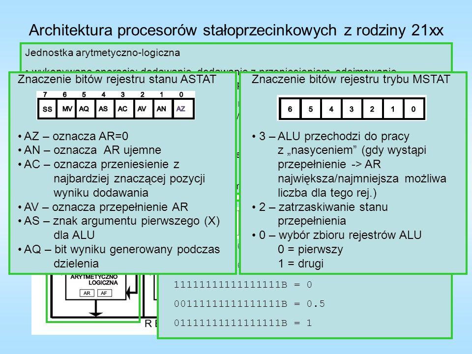 Architektura procesorów stałoprzecinkowych z rodziny 21xx Układ mnożąco-akumulujący wykonywane operacje: mnożenie liczb stałoprzecinkowych oraz mnożenie i akumulacja (dodawanie lub odejmowanie) 16-bitowe rejestry MX0 i MX1 – pierwszy argument operacji, MY0 i MY1 – drugi argument operacji, 40-bitowy rejestr MR (MR2 8 bitów, MR1 i MR0 16 bitów) – rejestr wyjściowy rejestr MR ma własność nasycenia, czyli jeśli zostanie wykryte przepełnienie to do MR zostanie zapisana największa/najmniejsza 32-bitowa liczba (Czy rejestr MR zostanie nasycony, czy nie, jest częścią kodu instrukcji) możliwość zaokrąglania 40-bitowego wyniku obliczeń do 16 bitów, wynik zaokrąglenia do rejestru MF, lub MR1 (znak powielony w rejestrze MR2) 16-bitowy rejestr MF – rejestr pośredniczący, można go wykorzystać w następnym rozkazie mnożenia przez podanie na wejście Y układu mnożącego rejestry mogą być odczytywane i zapisywane w jednym cyklu rozkazowym (odczyt na początku, zapis na końcu cyklu)