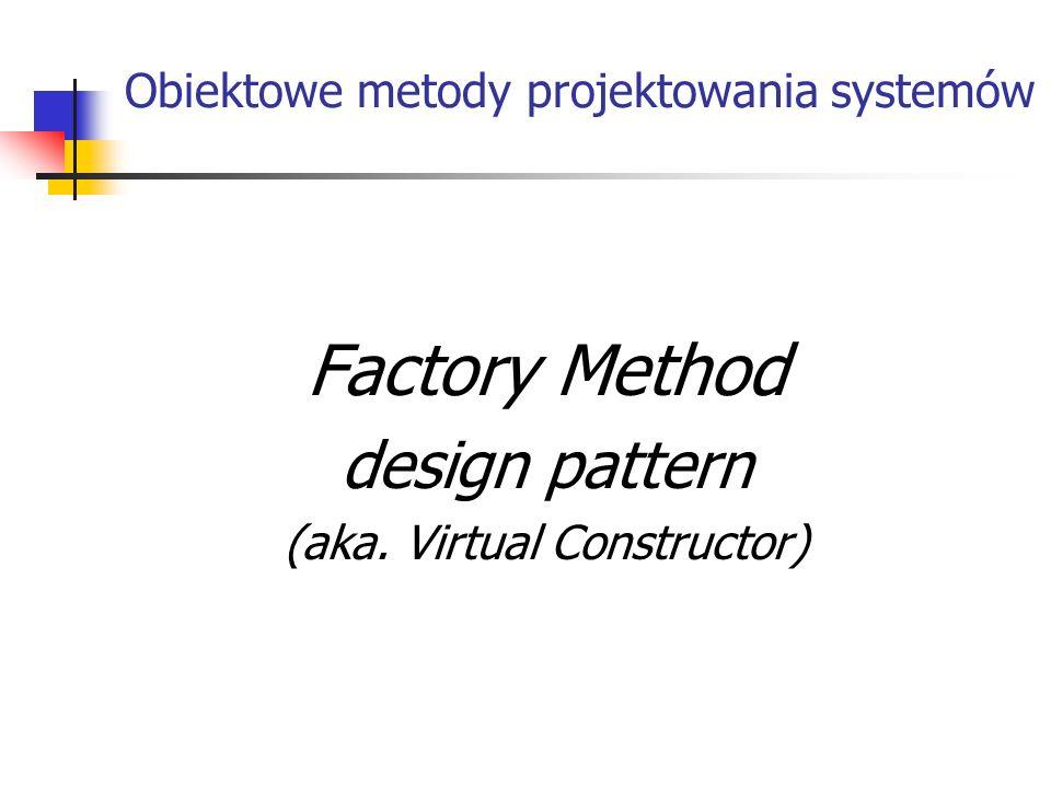Wstęp: Factory Method – wzorzec kreacyjny pracujący w zakresie klasowym Intencja – Zdefiniować interfejs dla tworzenia obiektu, ale pozwolić podklasom skonkretyzować, którą klasę instancjalicować.