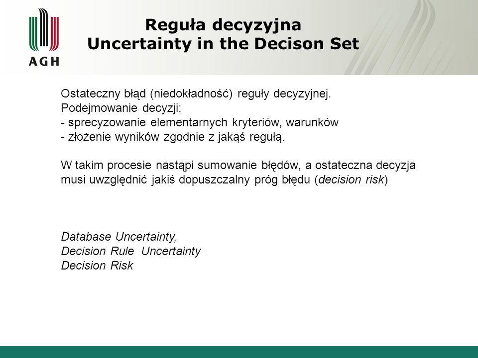 Reguła decyzyjna Uncertainty in the Decison Set Ostateczny błąd (niedokładność) reguły decyzyjnej. Podejmowanie decyzji: - sprecyzowanie elementarnych