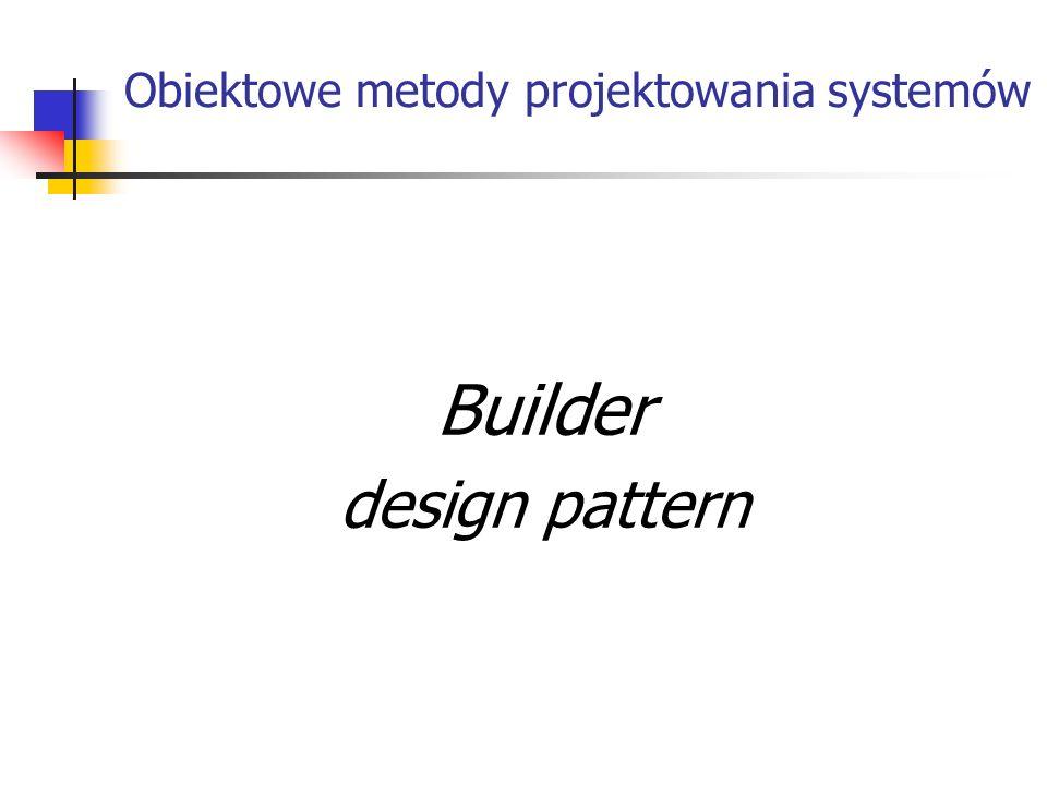 Obiektowe metody projektowania systemów Builder design pattern
