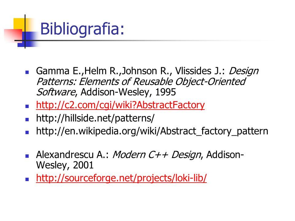 Bibliografia: Gamma E.,Helm R.,Johnson R., Vlissides J.: Design Patterns: Elements of Reusable Object-Oriented Software, Addison-Wesley, 1995 http://c