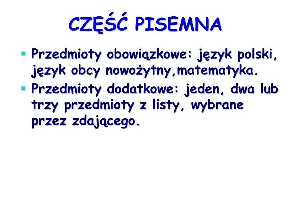 CZĘŚĆ PISEMNA Przedmioty obowiązkowe: język polski, język obcy nowożytny,matematyka. Przedmioty obowiązkowe: język polski, język obcy nowożytny,matema