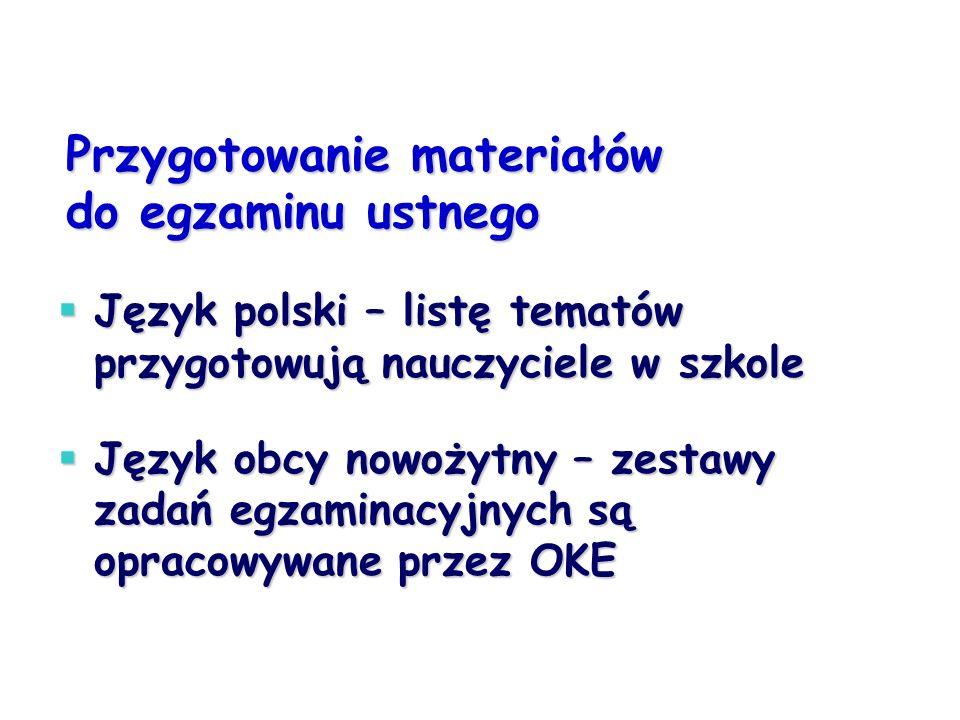 Przygotowanie materiałów do egzaminu ustnego Język polski – listę tematów przygotowują nauczyciele w szkole Język polski – listę tematów przygotowują