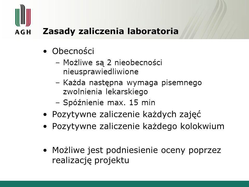Kalendarium zajęć 15 zajęć laboratoryjnych 11-10: Organizacyjne.