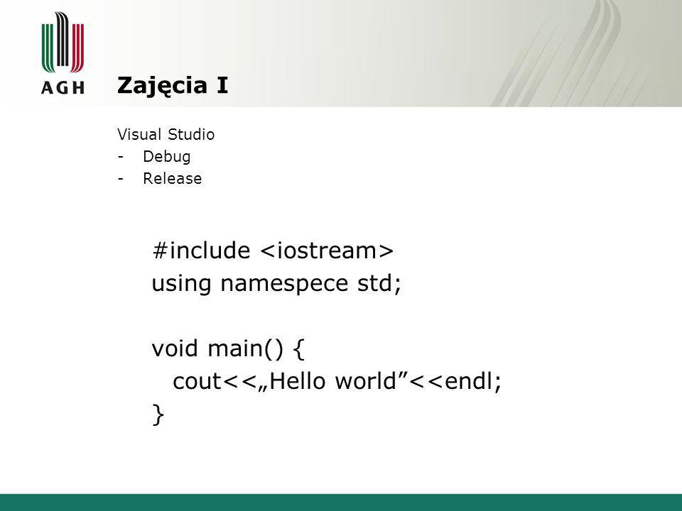Zajęcia I Visual Studio -Debug -Release #include using namespece std; void main() { cout<<Hello world<<endl; }