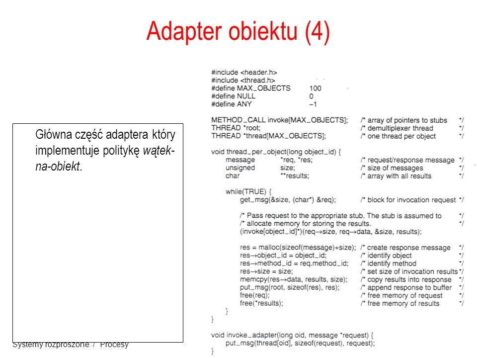 19 Systemy rozproszone / Procesy Adapter obiektu (4) Główna część adaptera który implementuje politykę wątek- na-obiekt.