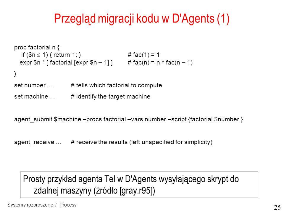 25 Systemy rozproszone / Procesy Przegląd migracji kodu w D'Agents (1) Prosty przykład agenta Tel w D'Agents wysyłającego skrypt do zdalnej maszyny (ź