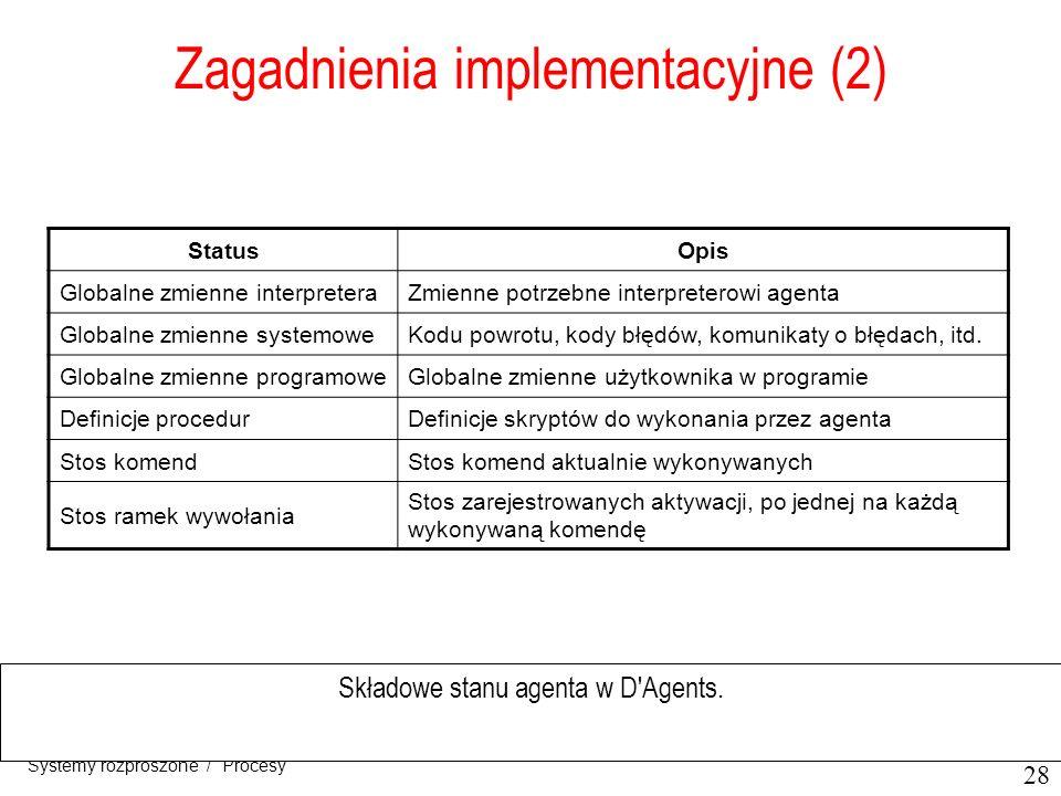 28 Systemy rozproszone / Procesy Zagadnienia implementacyjne (2) Składowe stanu agenta w D'Agents. StatusOpis Globalne zmienne interpreteraZmienne pot
