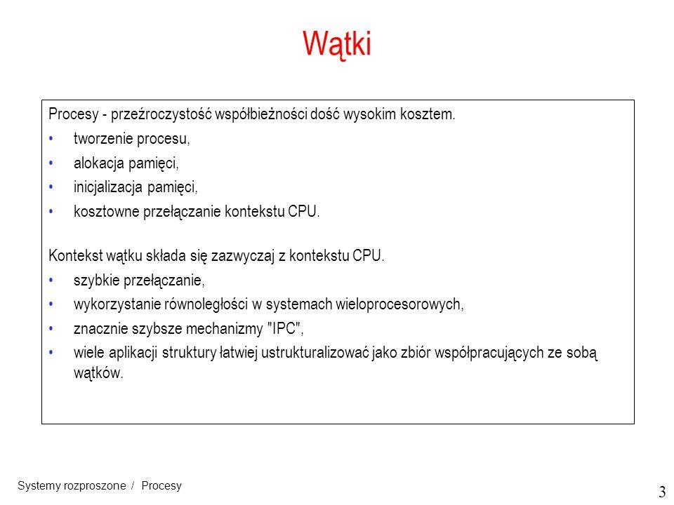 14 Systemy rozproszone / Procesy Serwery: zagadnienia projektowe (2) a)Wiązanie klient-serwer z użyciem demona jak w DCE b)Wiązanie klient-serwer z użyciem super-serwera jak w UNIX-ie 3.7