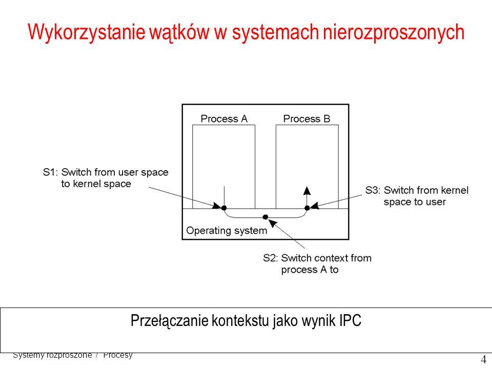 5 Systemy rozproszone / Procesy Implementacja wątków Kombinacja lekkich procesów poziomu jądra i wątków poziomu użytkownika LWP – lekkie procesy, wykonuje się w kontekście jednego (ciężkiego) procesu, Mmożliwe kilka LWP na proces, dodatkowy pakiet obsługi wątków poziomu użytkownika, muteksy i zmienne warunkowe dla synchronizacji.