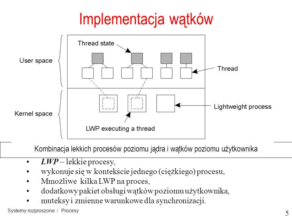 6 Systemy rozproszone / Procesy Aktywacje planisty przełączanie kontekstu realizowane w całości w przestrzeni użytkownika, jawi się LWP jak normalny kodu programu, jedynym mankamentem LWP: konieczność stworzenia LWP i niszczenia, które są tak kosztowne, jak wątki poziomu jądra.