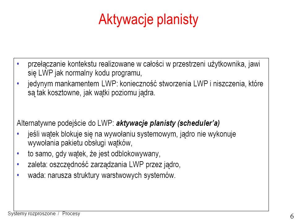 27 Systemy rozproszone / Procesy Zagadnienia implementacyjne (1) Architektura systemu D Agents