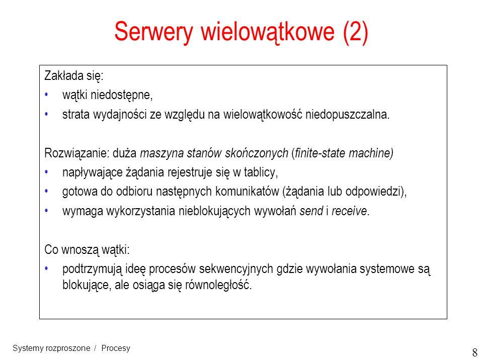 9 Systemy rozproszone / Procesy Serwery wielowątkowe (3) Trzy sposoby budowy serwera ModelCharacterystyka Wątki Równoległość, blokujące wywołania systemowe Procesy jednowątkowe Brak równoległości, blokujące wywołania systemowe Maszyna stanów skończonych Równoległość, nieblokujące wywołania systemowe