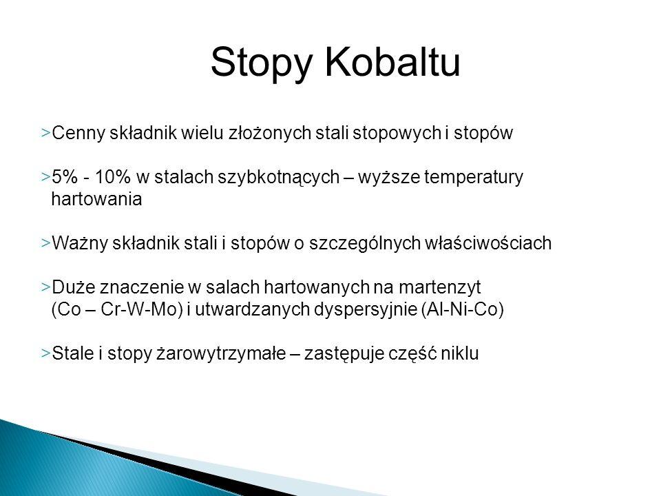 Stopy Kobaltu >Cenny składnik wielu złożonych stali stopowych i stopów >5% - 10% w stalach szybkotnących – wyższe temperatury hartowania >Ważny składn