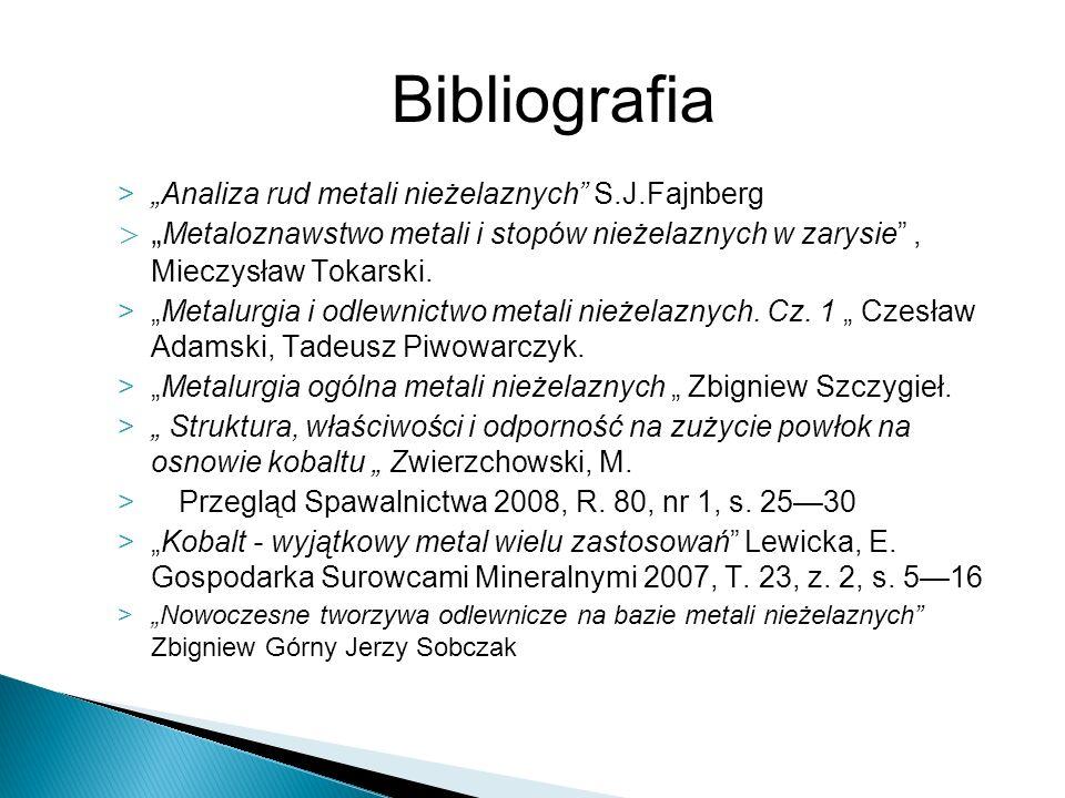 >Analiza rud metali nieżelaznych S.J.Fajnberg > Metaloznawstwo metali i stopów nieżelaznych w zarysie, Mieczysław Tokarski. >Metalurgia i odlewnictwo