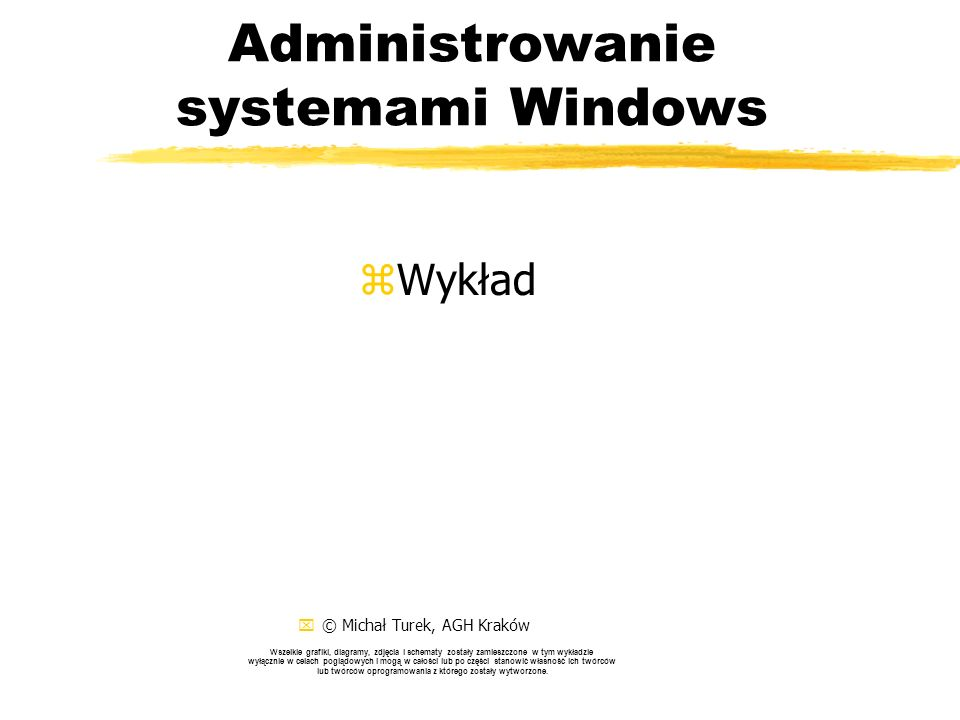 Skrypty WSH - przykłady (XIV) zZastosowania sieciowe: yset WshNetwork = WScript.CreateObject( WScript.Network ) yWScript.Echo User Name: & WshNetwork.UserName yWScript.Echo Computer Name: & WshNetwork.ComputerName yWScript.Echo Domain Name: & WshNetwork.UserDomain yWshNetwork.MapNetworkDrive S: , \\server\share