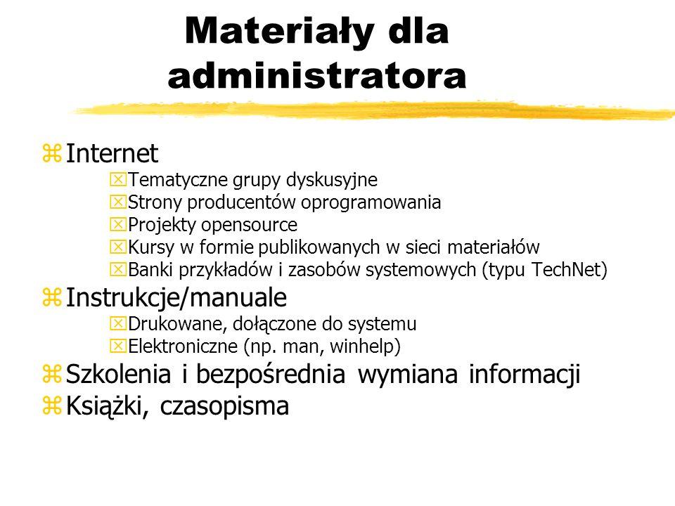 Materiały dla administratora zInternet xTematyczne grupy dyskusyjne xStrony producentów oprogramowania xProjekty opensource xKursy w formie publikowan