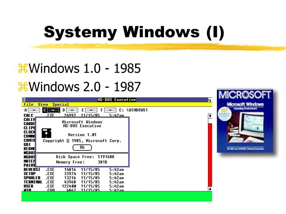 Systemy Windows (I) zWindows 1.0 - 1985 zWindows 2.0 - 1987