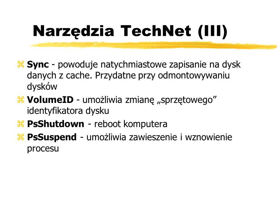 Narzędzia TechNet (III) zSync - powoduje natychmiastowe zapisanie na dysk danych z cache. Przydatne przy odmontowywaniu dysków zVolumeID - umożliwia z