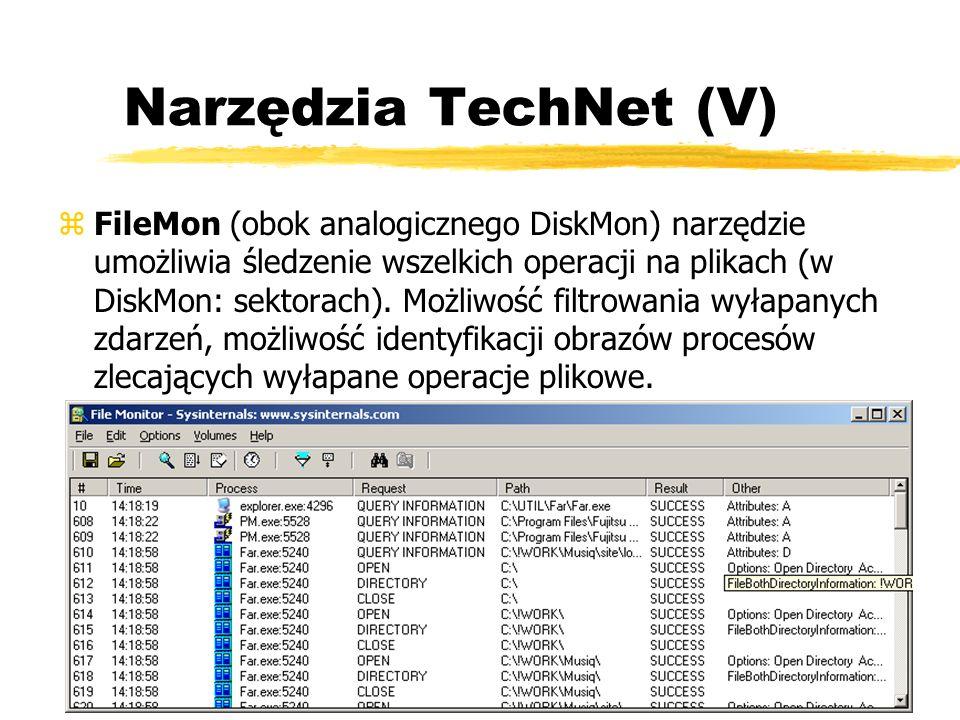 Narzędzia TechNet (V) zFileMon (obok analogicznego DiskMon) narzędzie umożliwia śledzenie wszelkich operacji na plikach (w DiskMon: sektorach). Możliw