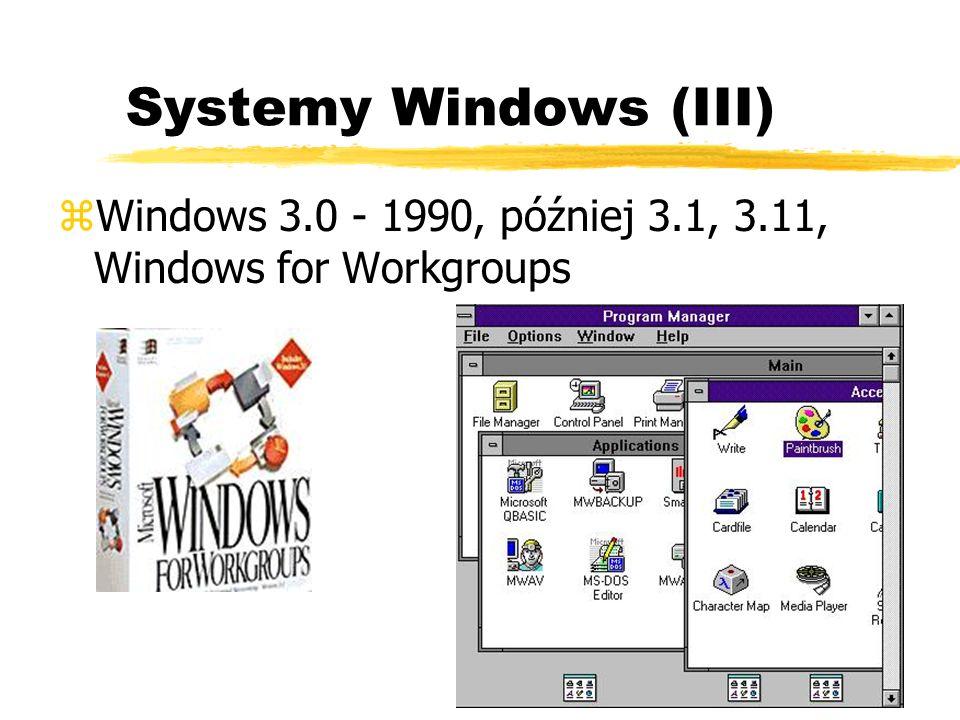 Systemy Windows (III) zWindows 3.0 - 1990, później 3.1, 3.11, Windows for Workgroups