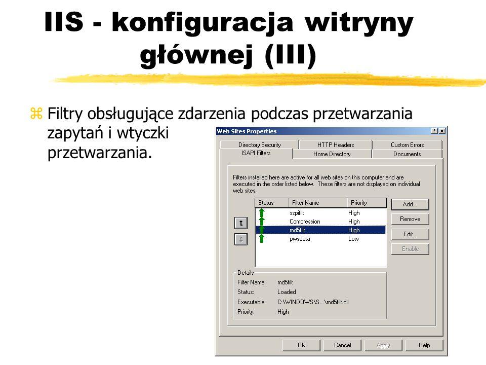 IIS - konfiguracja witryny głównej (III) zFiltry obsługujące zdarzenia podczas przetwarzania zapytań i wtyczki przetwarzania.
