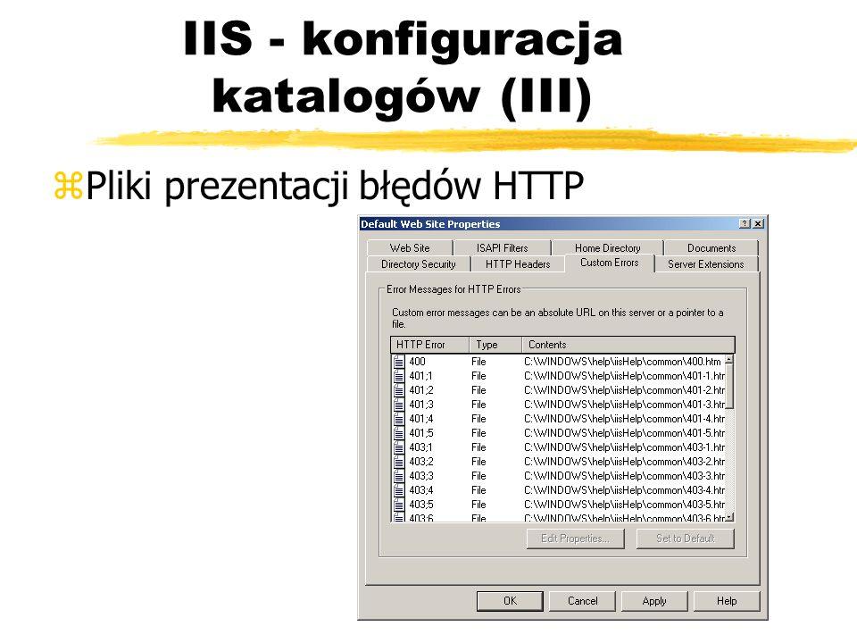 IIS - konfiguracja katalogów (III) zPliki prezentacji błędów HTTP